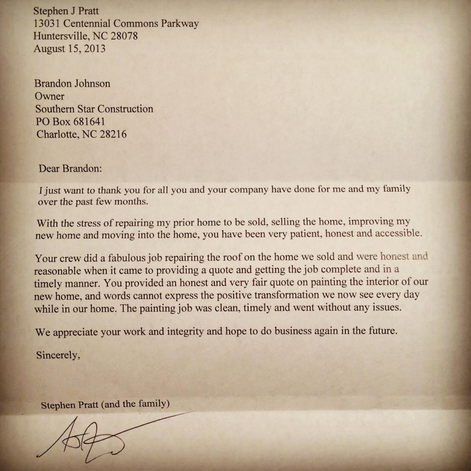 Huntersville NC roofing client testimonial